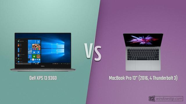 "Dell XPS 13 9360 vs. MacBook Pro 13"" (2016, 4 Thunderbolt ..."