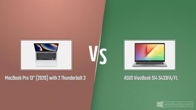 Macbook Pro 13 2020 With 2 Thunderbolt 3 Vs Asus Vivobook S14 S433fa Fl Windowstip