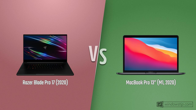 "Razer Blade Pro 17 (2020) vs. MacBook Pro 13"" (M1, 2020)"