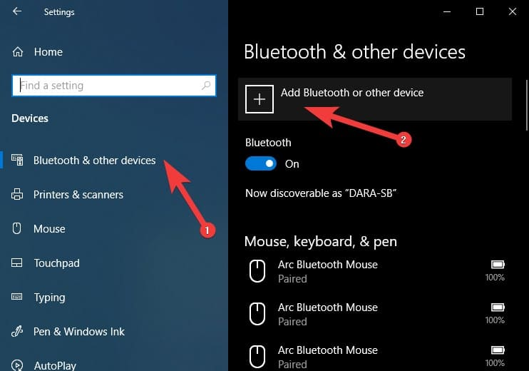 Bluetooth & other deivces > Add Bluetooth or other device