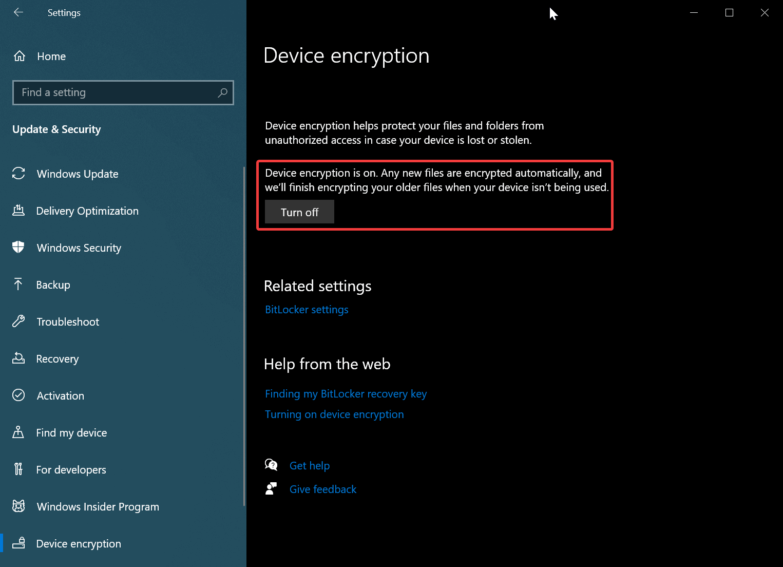 After turned on encryption on Windows 10