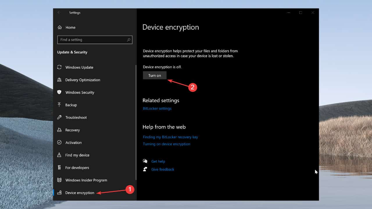 How to enable device encryption on Windows 10