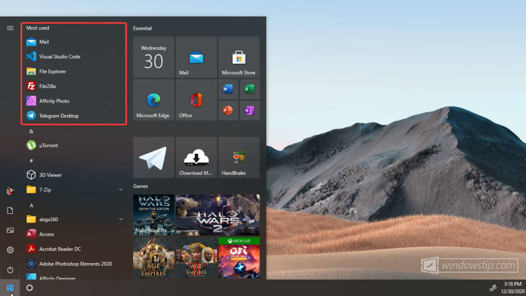 How to Show/Hide Most Used Apps in Windows 10 Start Menu