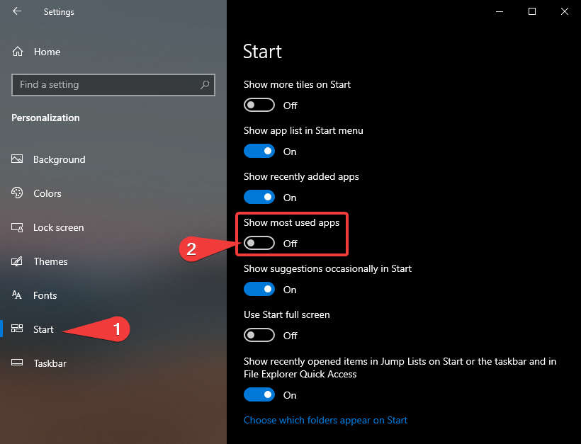 Toggle On/Off Most Used Apps Windows Settings