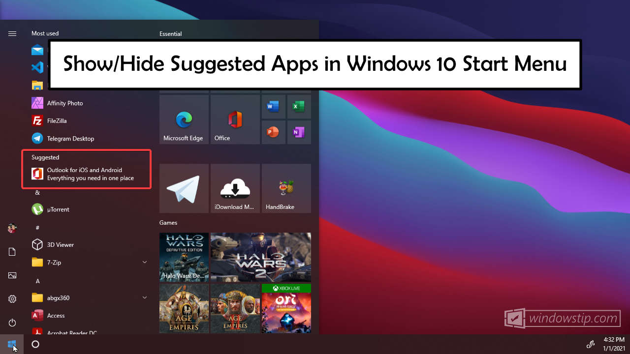 How to Show or Hide Suggested Apps in Windows 10 Start Menu
