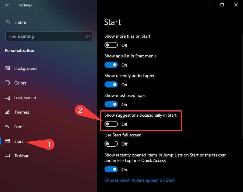 Turn On/Off Show Suggestions occasionally in Start