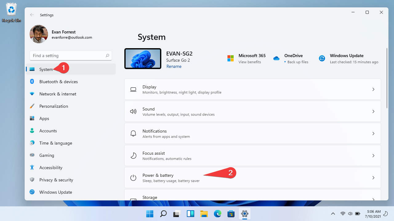 Windows 11: Settings > System > Power & battery